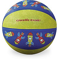 Crocodile Creek Rocket Patterned Blue/Green Kid-Sized Basketball 5.5 inches