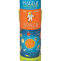 Crocodile Creek Space Exploration 200 piece Jigsaw Puzzle and Matching Poster
