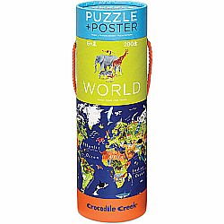 Crocodile Creek World Map 200 piece Jigsaw Puzzle and Matching Poster