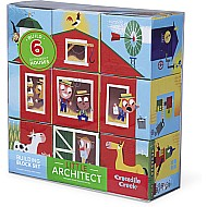 Crocodile Creek Little Architect Boy Builder Jumbo Block Set Mix and Match Stacking Set, 3.5""
