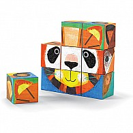 Crocodile Creek Make-A-Face Blocks Animal Mix and Match Block Stacking Sets, 2.5