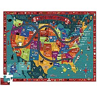 100 pc. Discover America Learn + Play Jigsaw Floor Puzzle