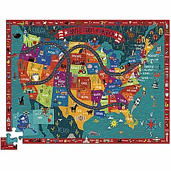 100pc Puzzle - Crocodile Creek Discover America with Figures