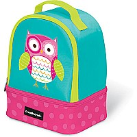 "Crocodile Creek Eco Kids Owl Insulated Two Compartment Girls' Lunchbox 9.5"" with handle"