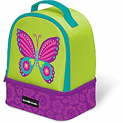 "Crocodile Creek Eco Kids Butterfly Insulated Two Compartment Girls' Lunchbox 9.5"" with handle"