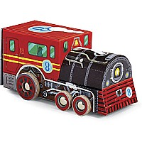 Crocodile Creek Locomotive Train 48 piece Jigsaw Puzzle in Train Shaped Box 8""