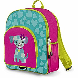 Crocodile Creek Eco Kids Puppy Turquoise and Pink Girls School Backpack 14""