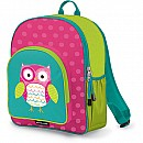 Crocodile Creek Eco Kids Pink and Turquoise Owl Girls School Backpack 14""