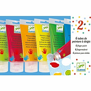 Art Supplies 6 Finger Paint Tubes - Classic