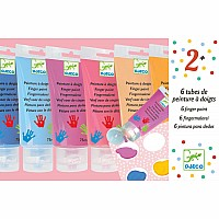 Art Supplies 6 Finger Paint Tubes - Sweet
