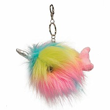 Rainbow Narwhal Pom Clip