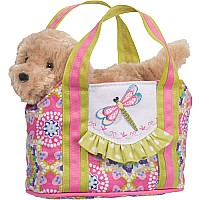 Dragonfly Tote With Golden Retriever