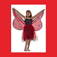 Fantasy Dress w/Glitter Ladybird Wing - X Small