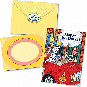 Fire Dog & Fireman Birthday Card