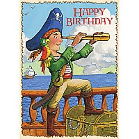 Pirate With Parrot Birthday Card
