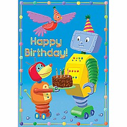 Robot Dog Offers Cake Birthday Card