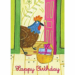 Rooster At The Door Birthday Card