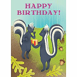 Skunks With Presents Birthday Card