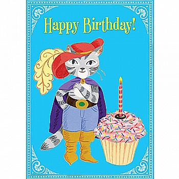 Cat With Giant Cupcake Birthday Card