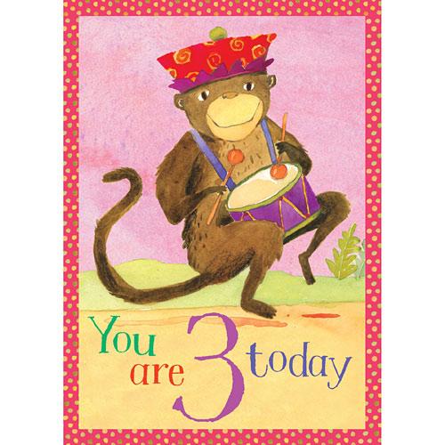 Monkey 3 Birthday Card Imaginations Toys