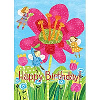 Fairies With Giant Pink Flowers Birthday Card
