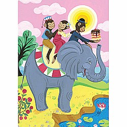 Monkeys On Elephant Birthday Card