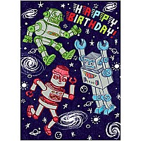 Silver Robots Birthday Card
