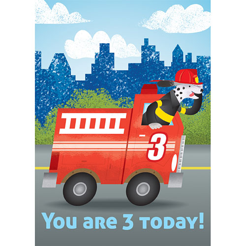 Fire Truck 3 Birthday Card Kool Child