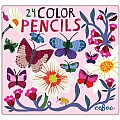 Butterflies and Flowers 24 Color Pencils