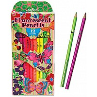 Butterfly Fluorescent Pencils, set of 12