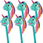 Rainbow Prancers Puppet-On-A-Stick Shine- Teal Replenishment Set Of 6