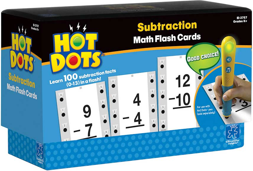 hot dots math flash cards subtraction young minds toys. Black Bedroom Furniture Sets. Home Design Ideas