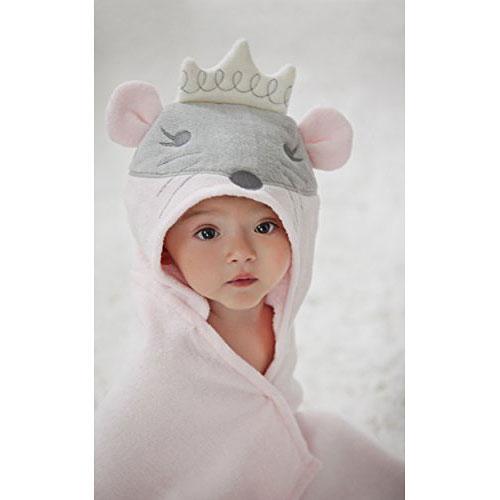 Elegant Baby Bath Time Gift Hooded Towel Wrap Pink Mousie Princess