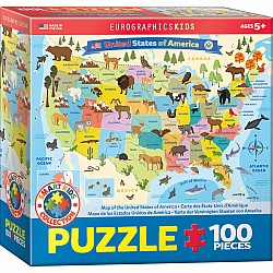 100 Piece Charts for Kids - Illustrated Map of the United States of America