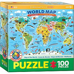 100 Piece Charts for Kids - Illustrated Map of the World