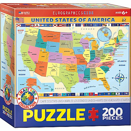 Map of the United States of America 200-Piece Puzzle