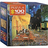 Cafe at Night by Vincent Van Gogh 100-Piece Mini Puzzle