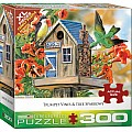 300 pc - XL Puzzle Pieces - Trumpet Vines & Tree Sparrows by Janene Grende