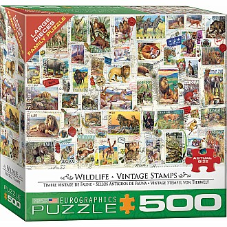 500 pc - Large Puzzle Pieces - Wildlife - Vintage Stamps