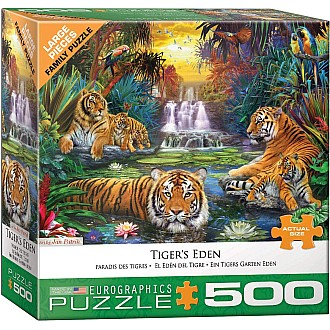 500 pc - Large Puzzle Pieces - Tiger's Eden by Jan Patrik