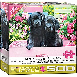 500 pc - Large Puzzle Pieces - Black Labs in Pink Box