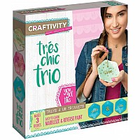 CRAFTIVITY - Tr�s Chic Trio - Complete Craft Project Kit - Learn Reverse Glass Painting and Marbleizing to Create Your Own Tri