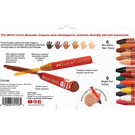 World Colors - 15Ct Beeswax Crayons
