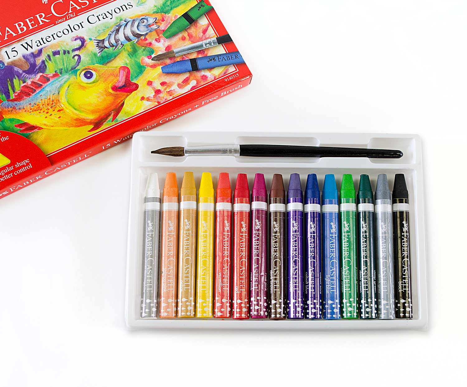 15 ct Watercolor Crayons with free brush - A Child's Delight