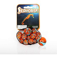 Mega Marbles - SEAHORSE MARBLES NET (1 Shooter Marble & 24 Player Marbles)