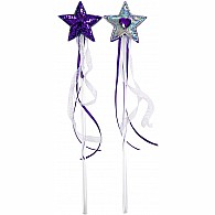 Star Wands with Heart Jewel and Ribbons - Purple and Crystal