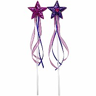 Star Wands with Heart Jewel and Ribbons - Purple and Fuchsia