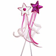 Star Wands with Heart Jewel and Ribbons - White and Fuchsia
