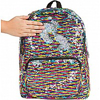 S. Lab Magic Sequin Backpack- Rainbow/Silver