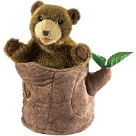 Bear In Tree Stump Hand Puppet